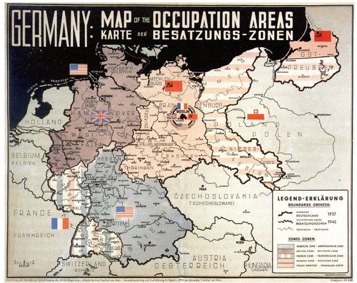 Deutschlandkarte Mit Besatzungszonen Din A2 Franken Bucher